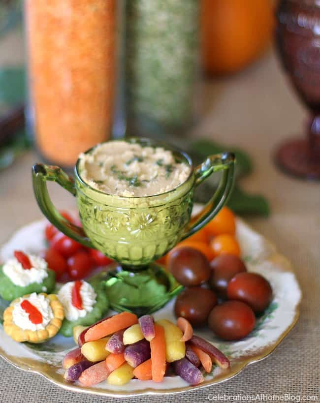 colorful crudites plate with hummus