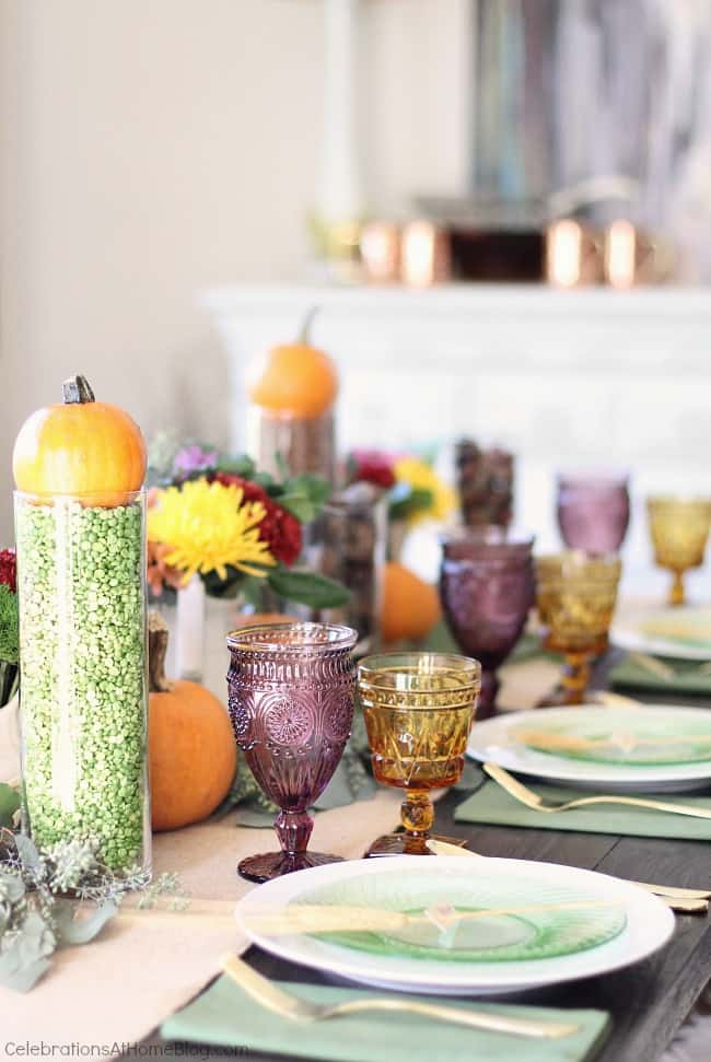colorful Thanksgiving table setting ideas, side view of table setting