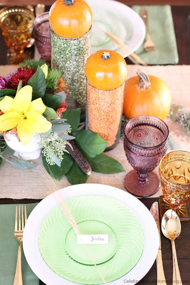 colorful Thanksgiving place setting and centerpiece