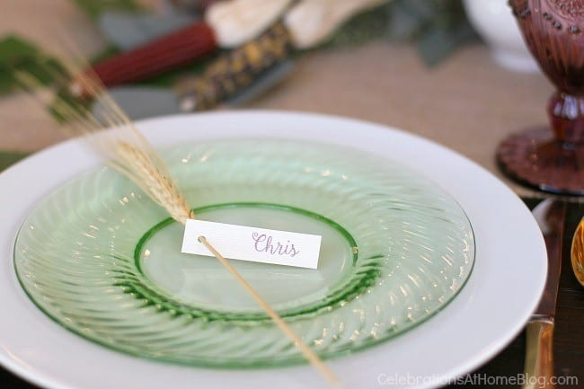 colorful Thanksgiving tablescape ideas, layered plates with name card