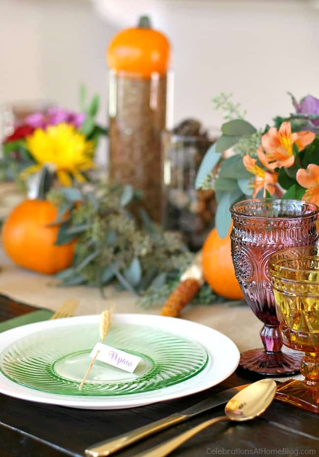 colorful Thanksgiving tablescape ideas