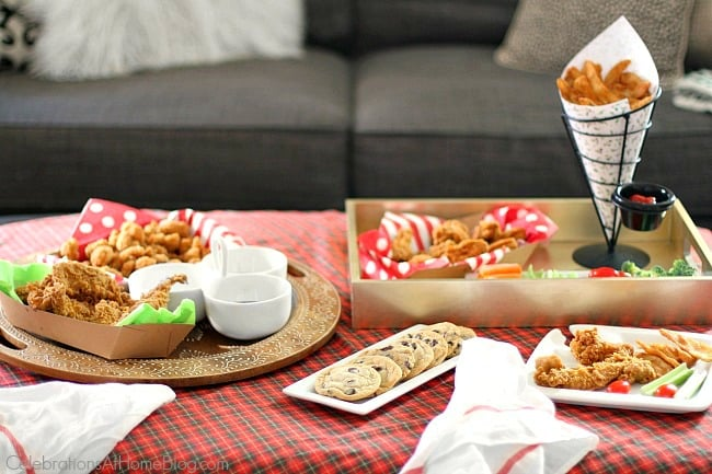 Have a Christmas movie party day at home with friends and serve up casual snacks indoor picnic style.
