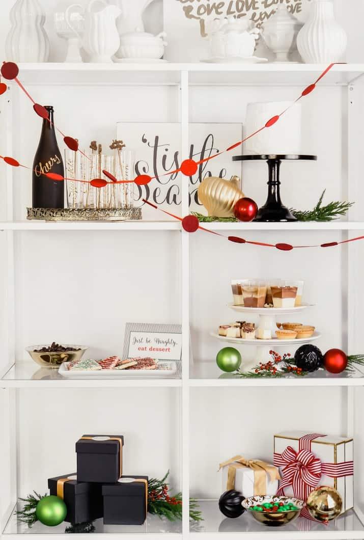 Christmas party dessert on open shelf