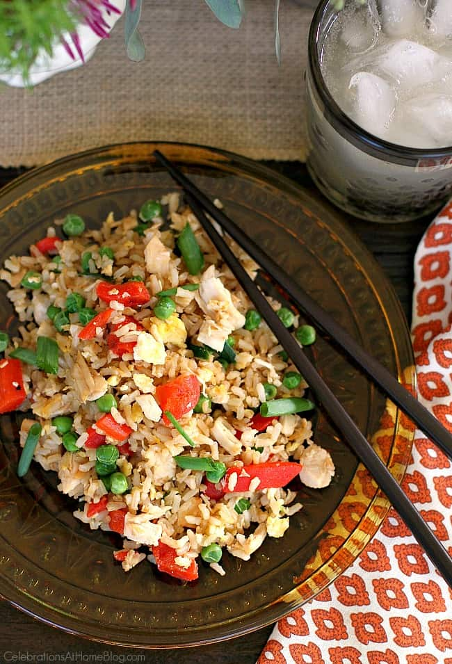 Turkey fried rice using Thanksgiving leftovers.