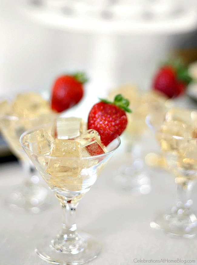 Champagne jello squares; party food; Toast your celebration with sparkling wine jello squares for a fun twist at the party
