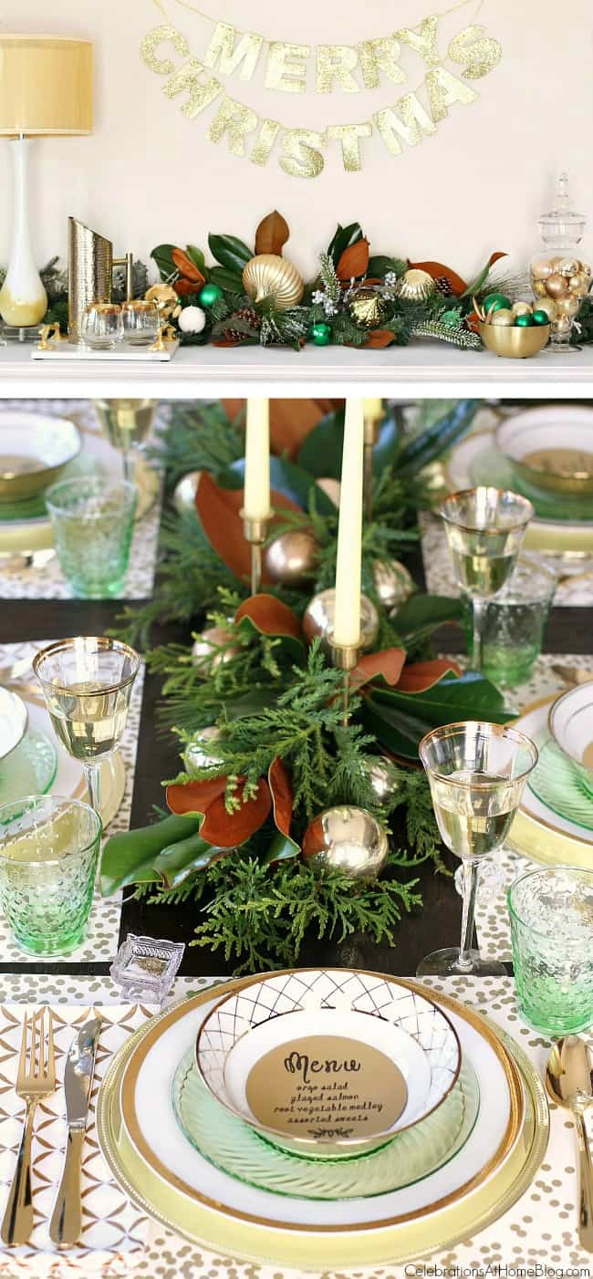 Inspiration for setting your Christmas table from party stylist, Chris Nease; Green & gold Christmas table; Holiday party tablescape. #Christmas #tablescape #ChristmasTable #Christmastablescape #Christmasparty #entertainingathome