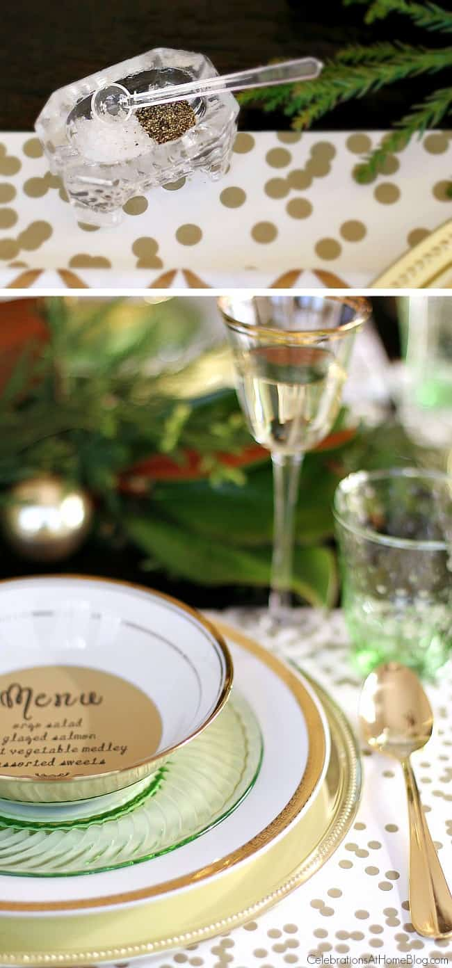 Inspiration for setting your Christmas table from party stylist, Chris Nease; Green & gold Christmas table; Holiday party tablescape.