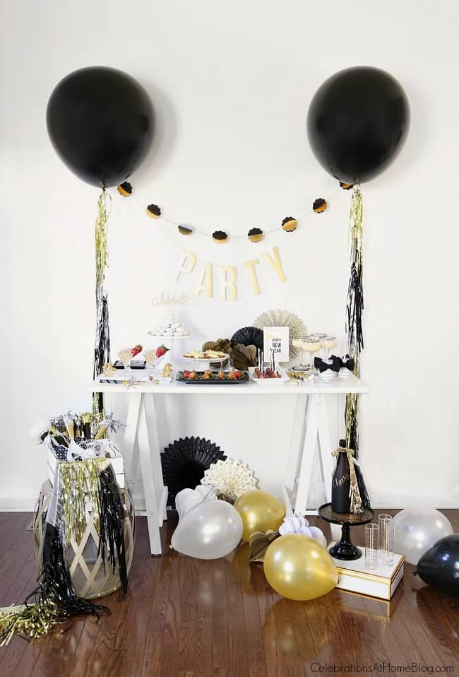 Inspiration for setting a late night party buffet from party stylist, Chris Nease; New years Eve party ideas; Midnight buffet.