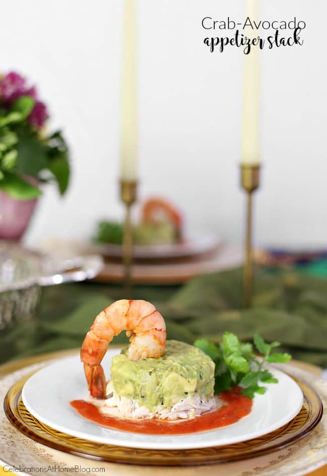 This crab avocado appetizer stack looks impressive and tastes great! Serve this New Orleans inspired dish for your next dinner party.