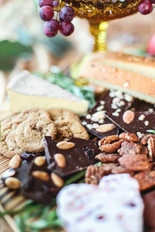 chocolate & cheese dessert board with dark chocolate bark