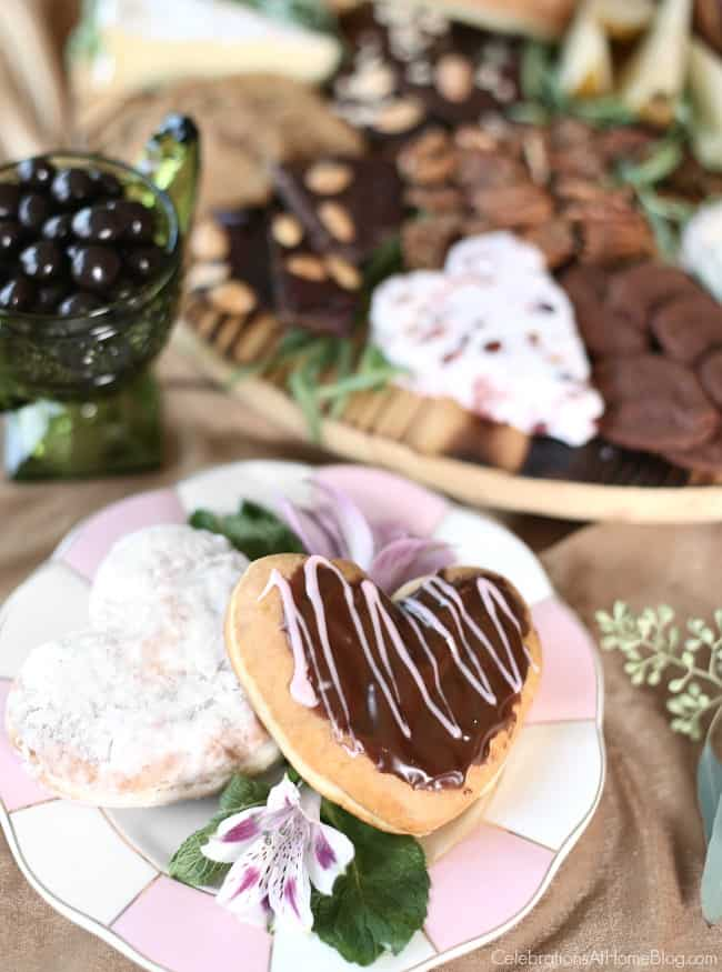 chocolate & cheese dessert board with heart shaped donuts