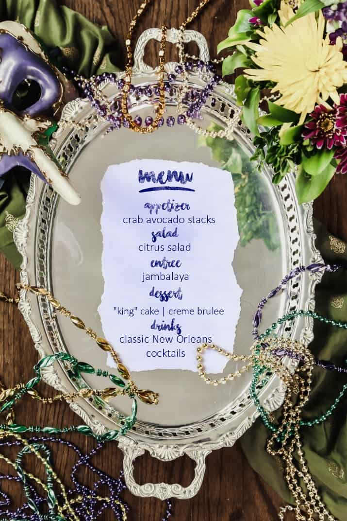 New Orleans theme dinner party menu