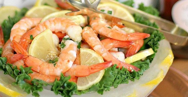 Marinated Shrimp Cocktail recipe {in an ice bowl)