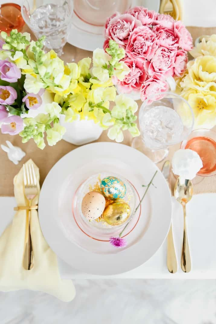 beautiful simple Easter tablescape with yellow