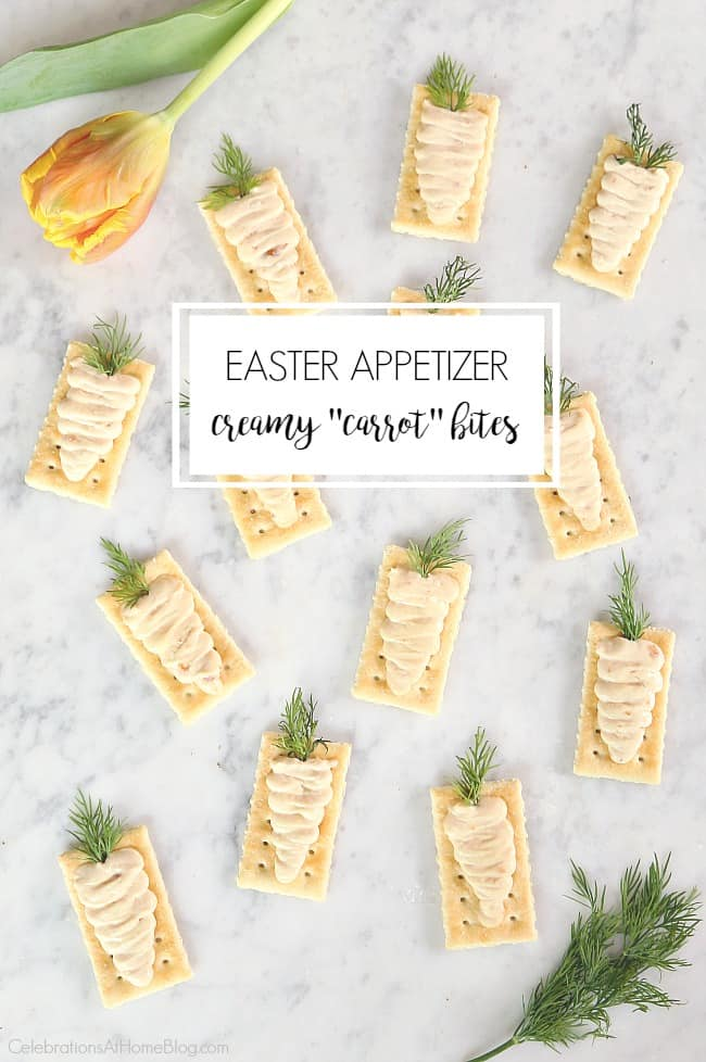 These Easter appetizers, creamy carrot bites, are so cute for your your holiday celebration. Serve them at brunch or for pre-dinner snacking.