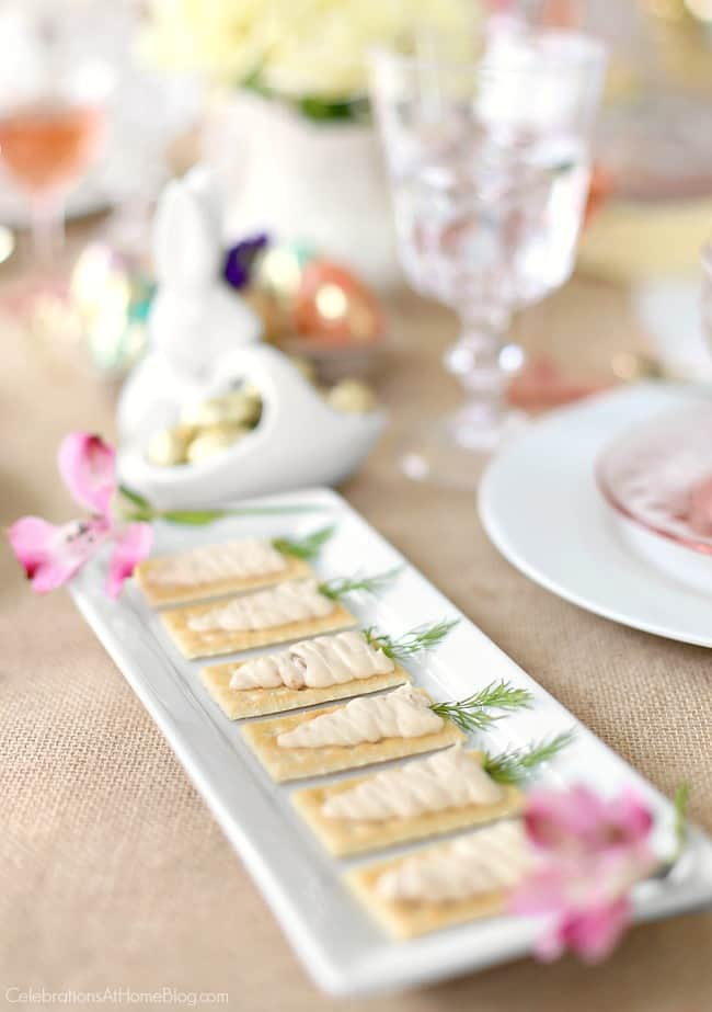 Set a beautiful Easter tablescape with themed appetizers