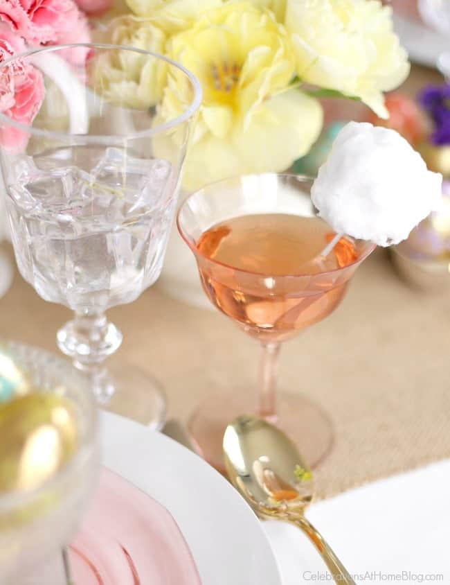 Set a beautiful Easter tablescape including champagne coupes with cotton candy bunny tails