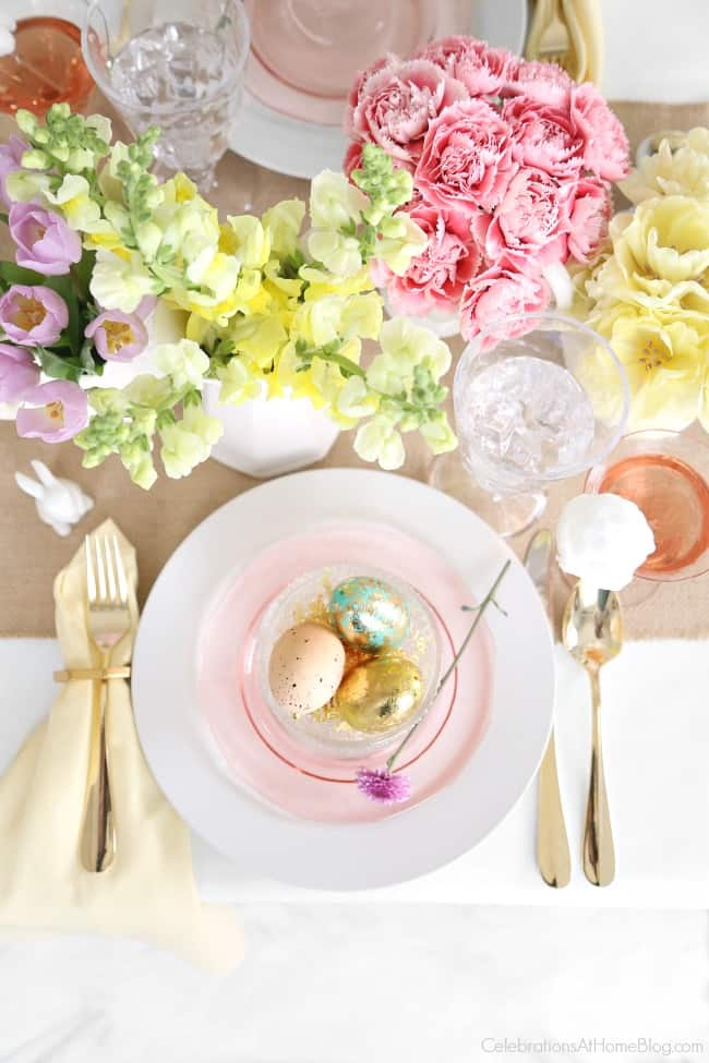 Set a beautiful Easter tablescape with inspiration and styling tips from entertaining expert Chris Nease of Celebrations At Home. Easter place setting.