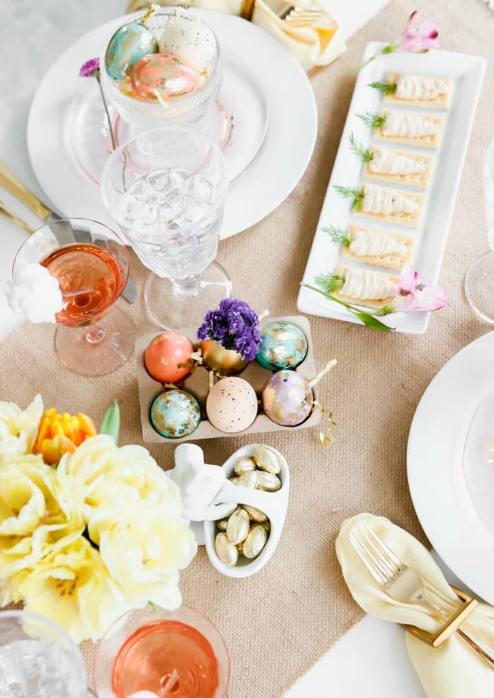 Easter table setting with pastels