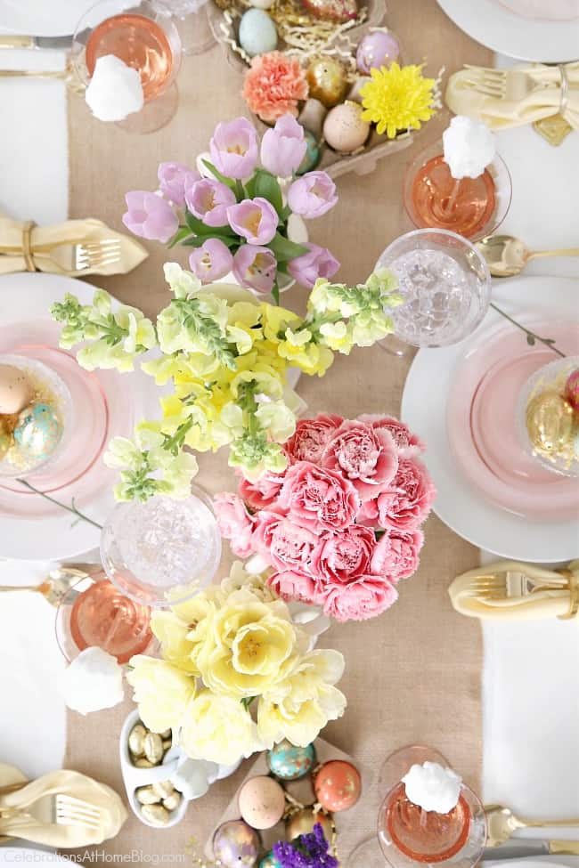 Set a beautiful Easter tablescape, overhead view
