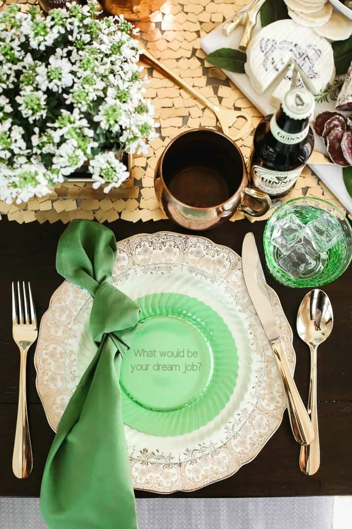 Irish themed dinner party place setting for St Patricks day