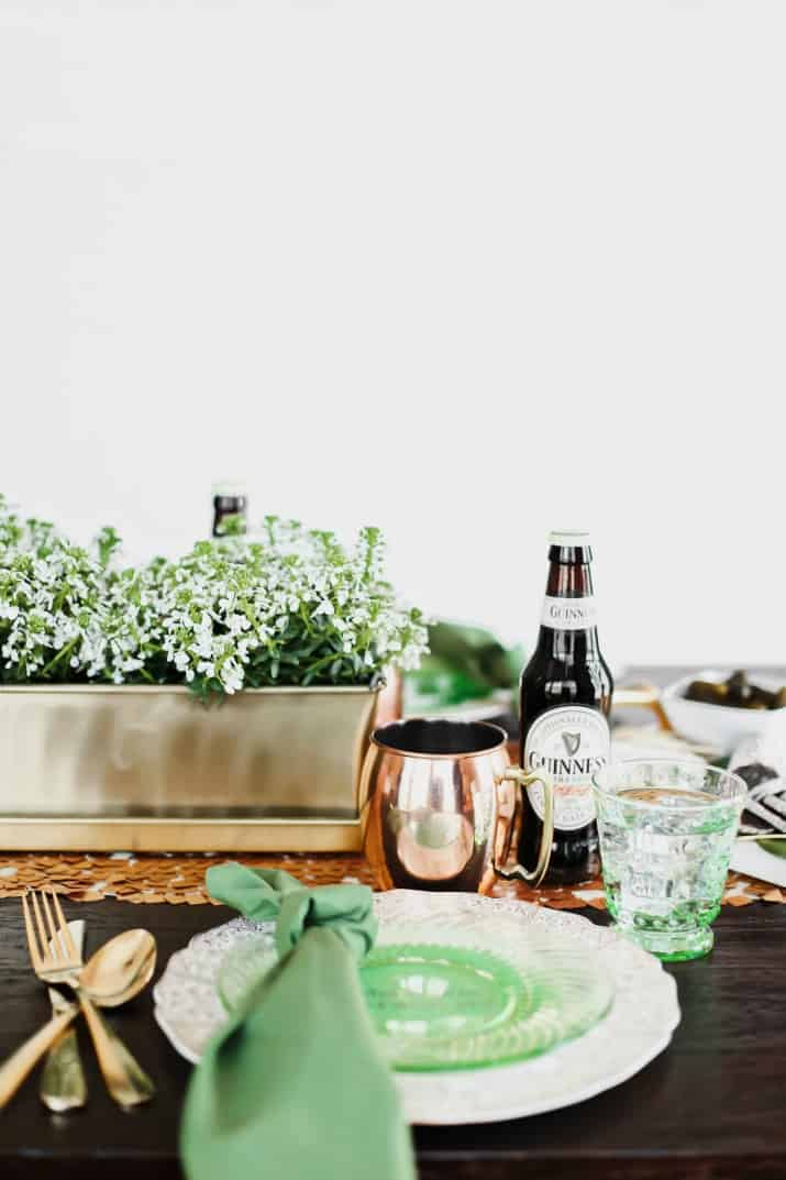Irish themed dinner party for St Patricks day, ideas, tablescape, and menu