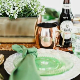 Irish themed dinner party for St Patricks day menu, tablescape, and ideas,