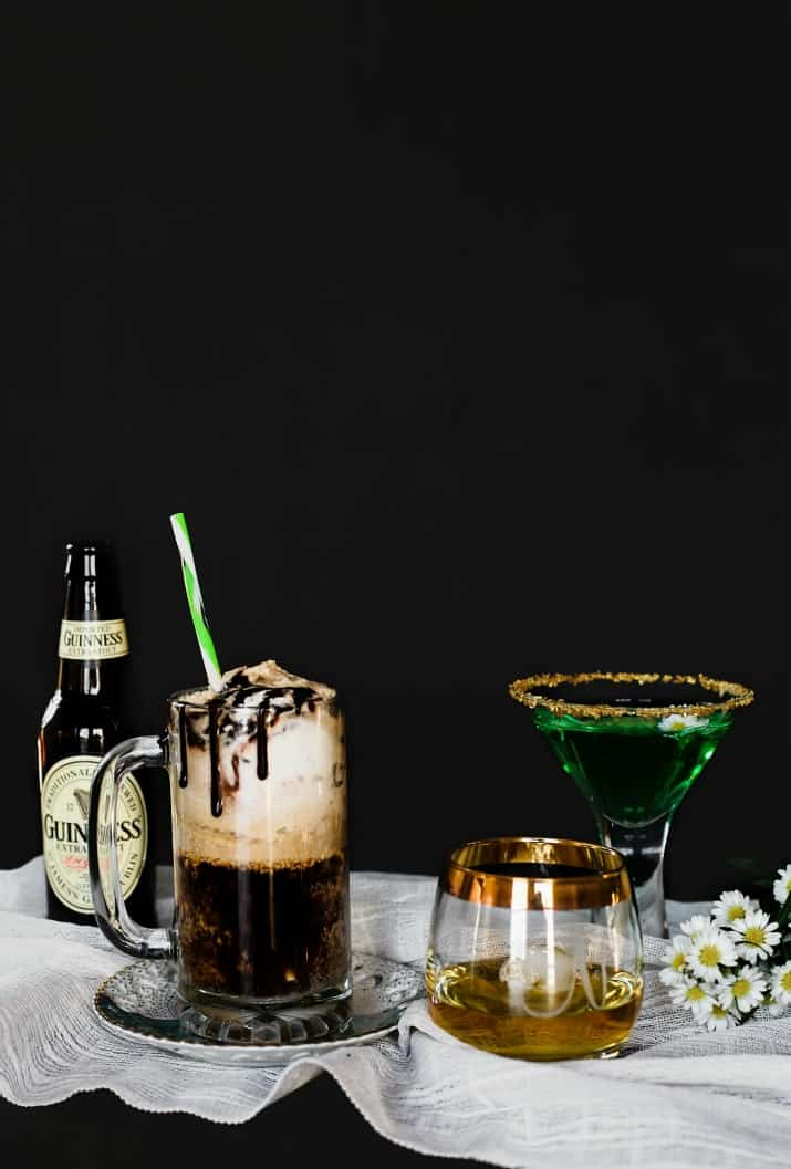 assortment of drinks for Irish themed dinner party for st. patricks day