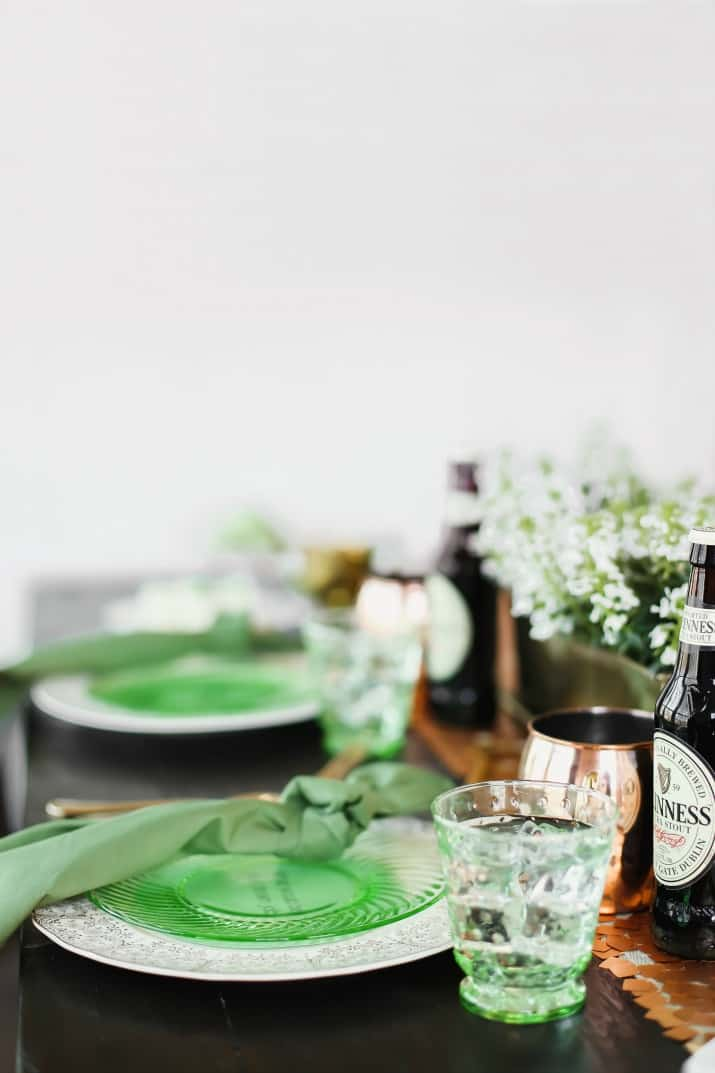 Irish themed dinner party for St Patricks day tablescape