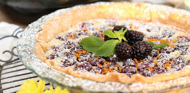 Blackberry Custard Pie Recipe + Dessert on the Patio