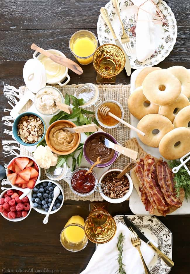 Host the Ultimate Bagel Bar Brunch and include these toppings for a sweet dessert bagel. See the rest and get the printable checklist here.