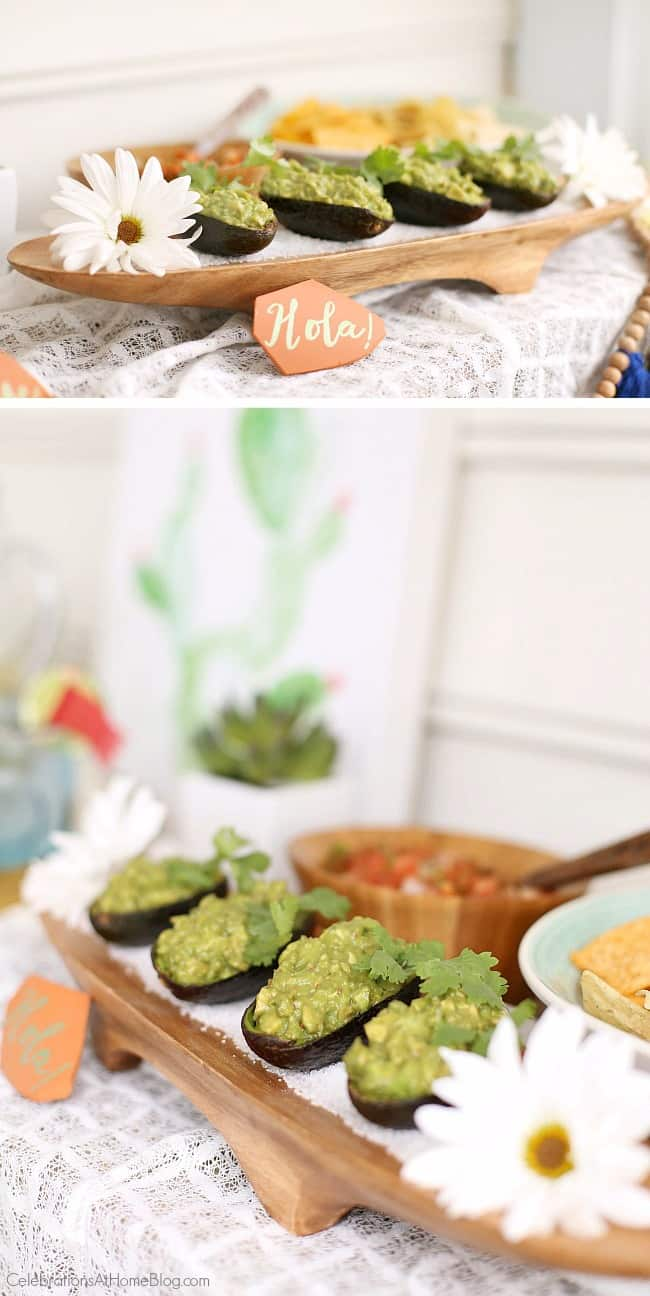 Cinco de Mayo just got cuter with these guacamole avocado bowls cleverly created by Chris Nease of CelebrationsAtHomeBlog.com; Mexican fiesta happy hour food ideas.