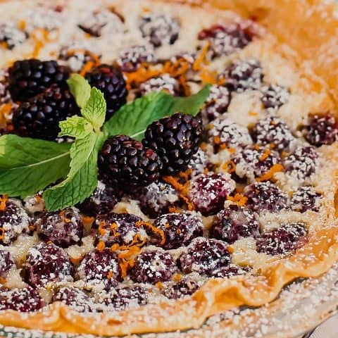blackberry custard pie recipe card