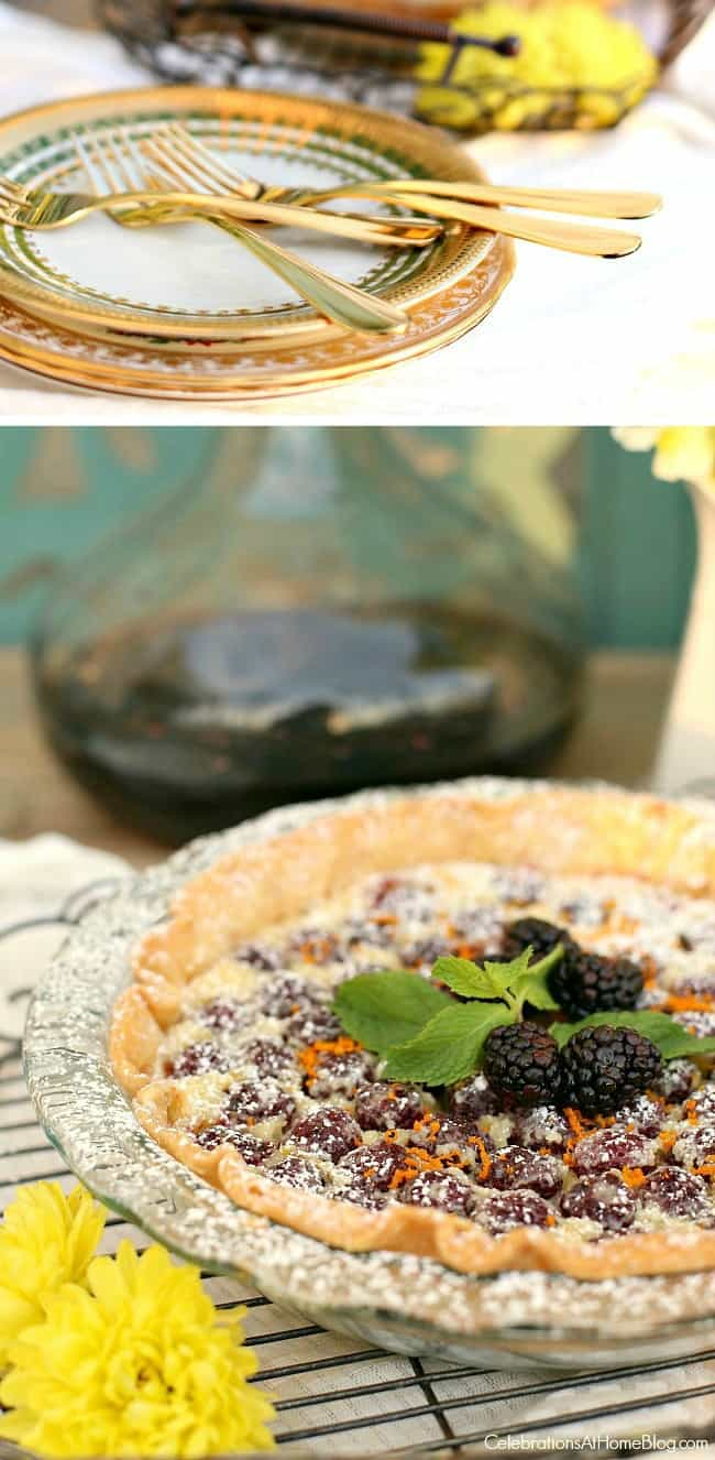 Blackberry custard pie recipe for entertaining, garnished with fresh mint leaves and blackberries