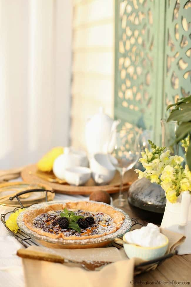 Blackberry custard pie recipe + tips for entertaining with dessert on the patio, by entertaining expert Chris Nease of Celebrations At Home.