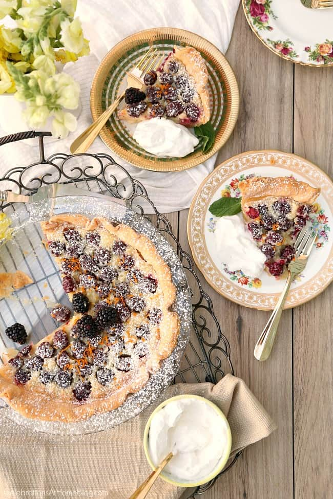 Blackberry custard pie recipe slices served on vintage china plates overhead view