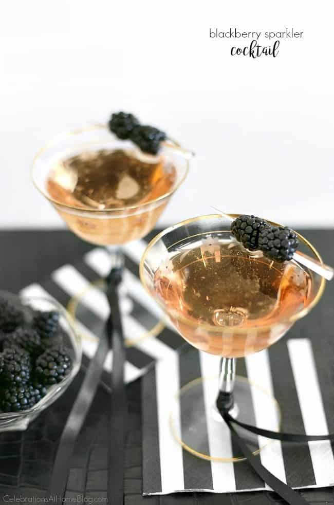 Enjoy this blackberry sparkler cocktail for happy hour, ladies night, or a celebration cocktail party! This delicious bubbly drink goes down easy.