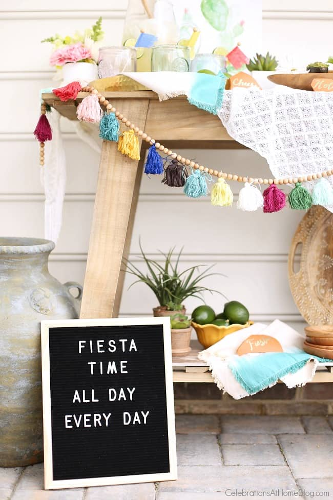 Display a modern letter board sign for your Cinco de Mayo Mexican fiesta happy hour.