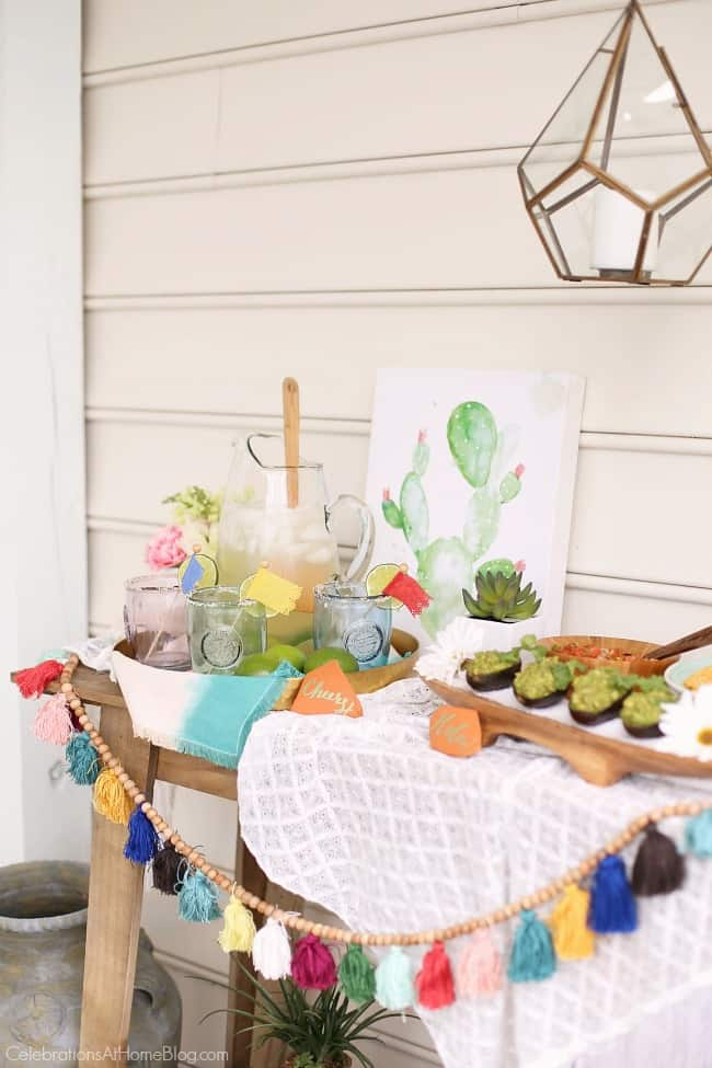 host a Mexican fiesta happy hour for Cinco de Mayo or any time, with tips and decor ideas from Chris Nease of Celebrationsathomeblog.com