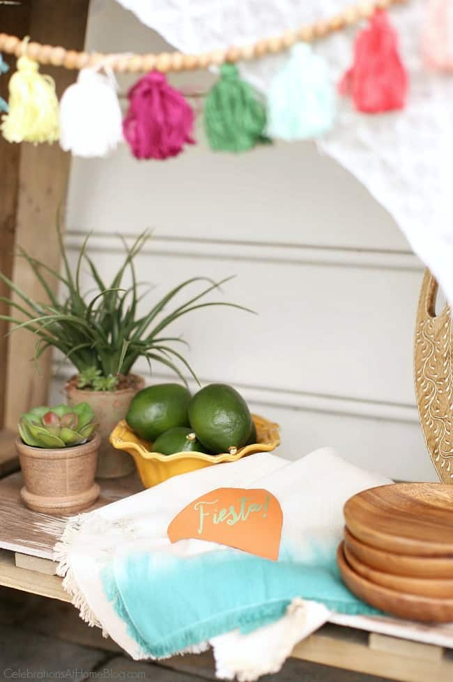 Create clever decor for your Cinco de Mayo party with terra cotta mini signs.