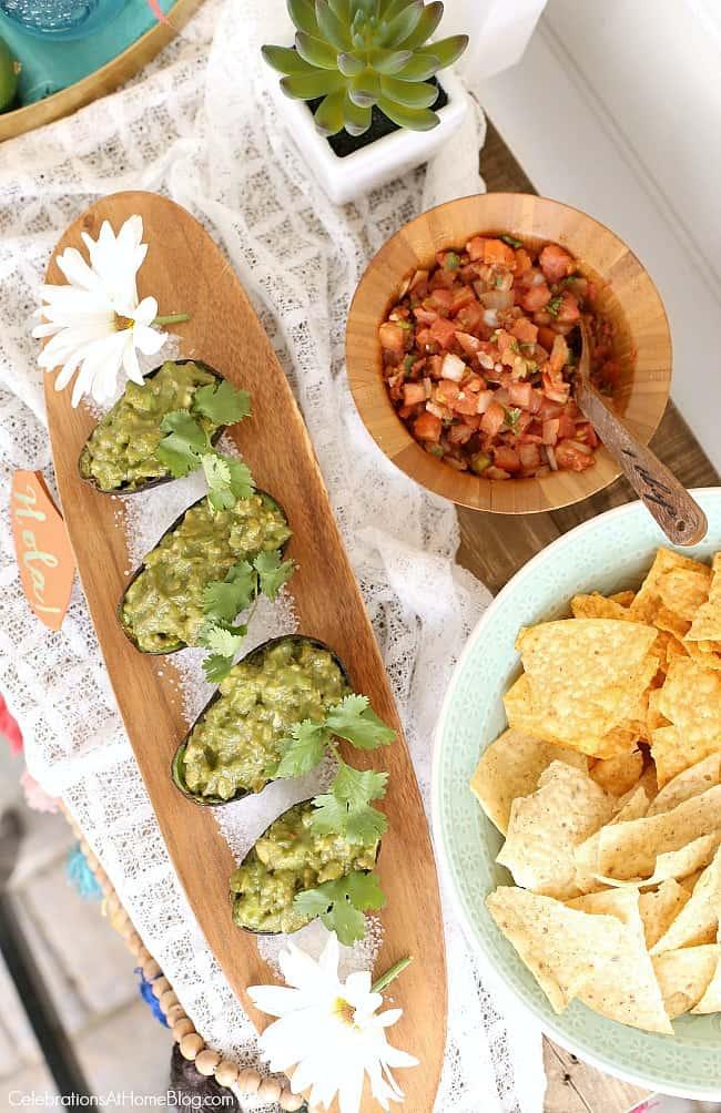 Cinco de Mayo chips & salsa & guacamole serving ideas; Mexican fiesta happy hour party ideas
