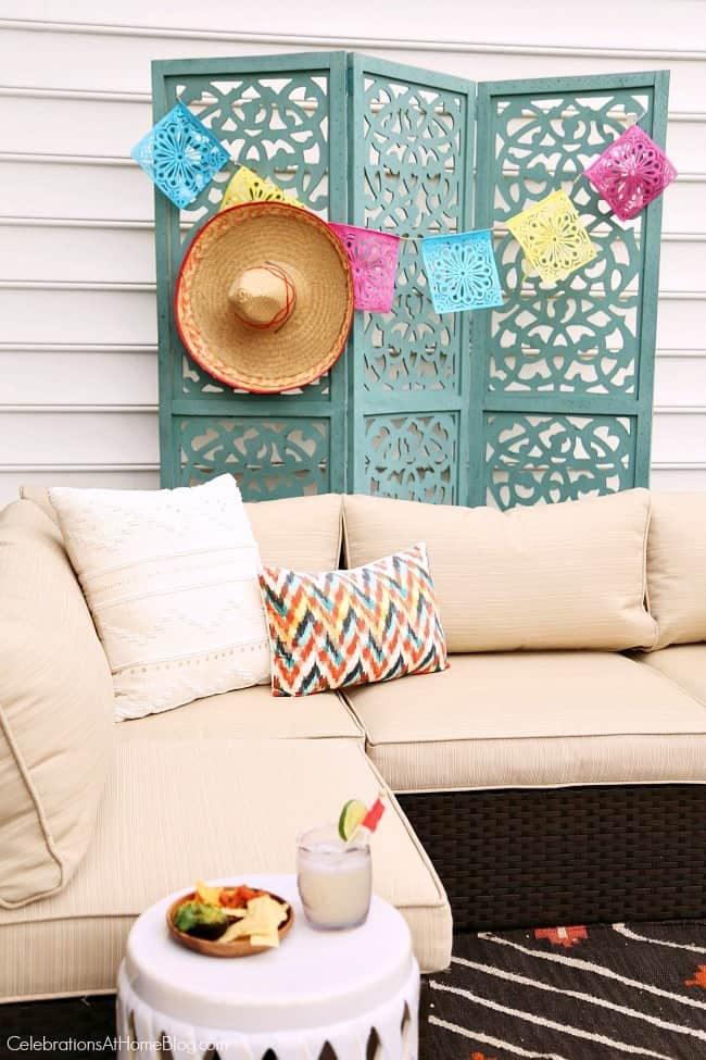 Host a stylish Mexican fiesta happy hour and set up a cozy lounge for seating.