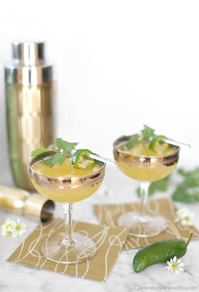 This is my new favorite drink, a sweet smoky Prosecco cocktail to mix up for all your summer parties.