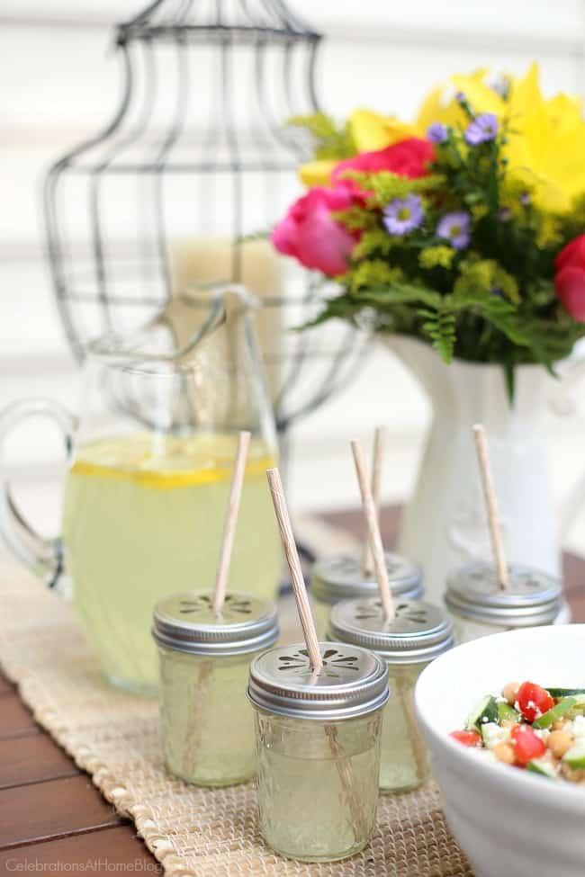 5 easy backyard bbq ideas; self-serve pitcher drinks.