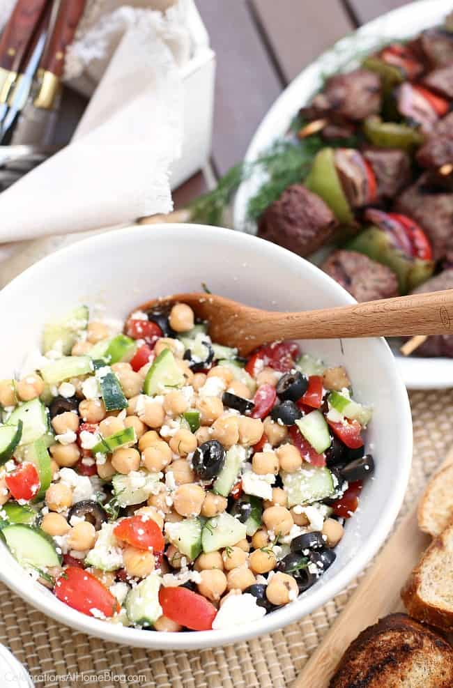A Mediterranean Chickpea Salad is an excellent option for a summer side dish. There's no creamy dressing to worry about sitting in the heat, and the classic flavors all blend together splendidly.