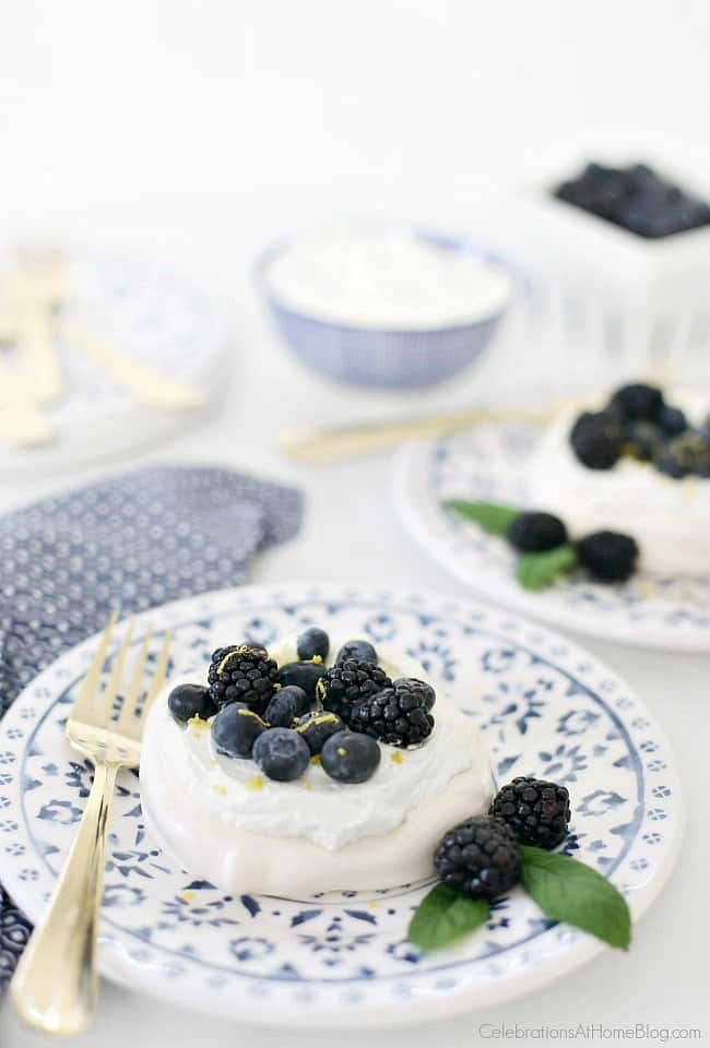 Mini pavlova blueberry desserts are a great summer treat when entertaining at home. Get the easy recipe here.