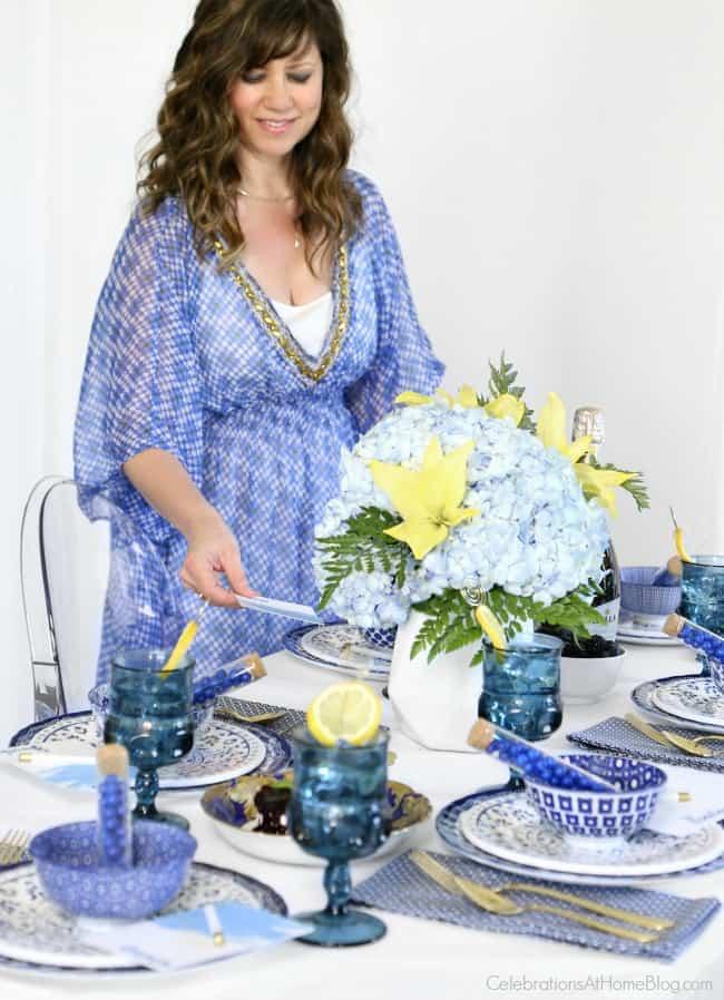 Something blue bridal brunch with Chris Nease of CelebrationsAtHomeBlog.com