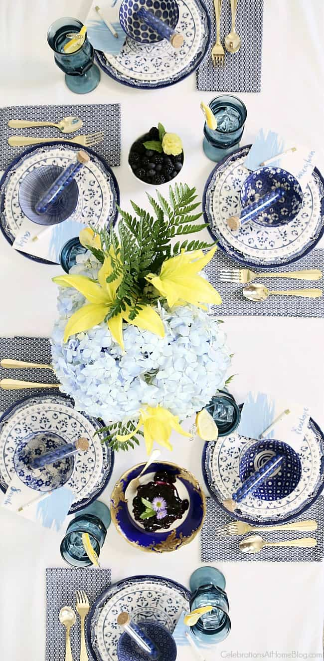 "Blue bridal brunch tablescape for a ""Something Blue"" bridal shower."