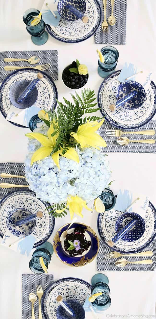 """Blue bridal brunch tablescape for a """"Something Blue"""" bridal shower."""