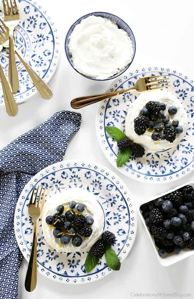 Make these mini pavlova blueberry desserts for entertaining at home. They're a great light treat after a dinner party.